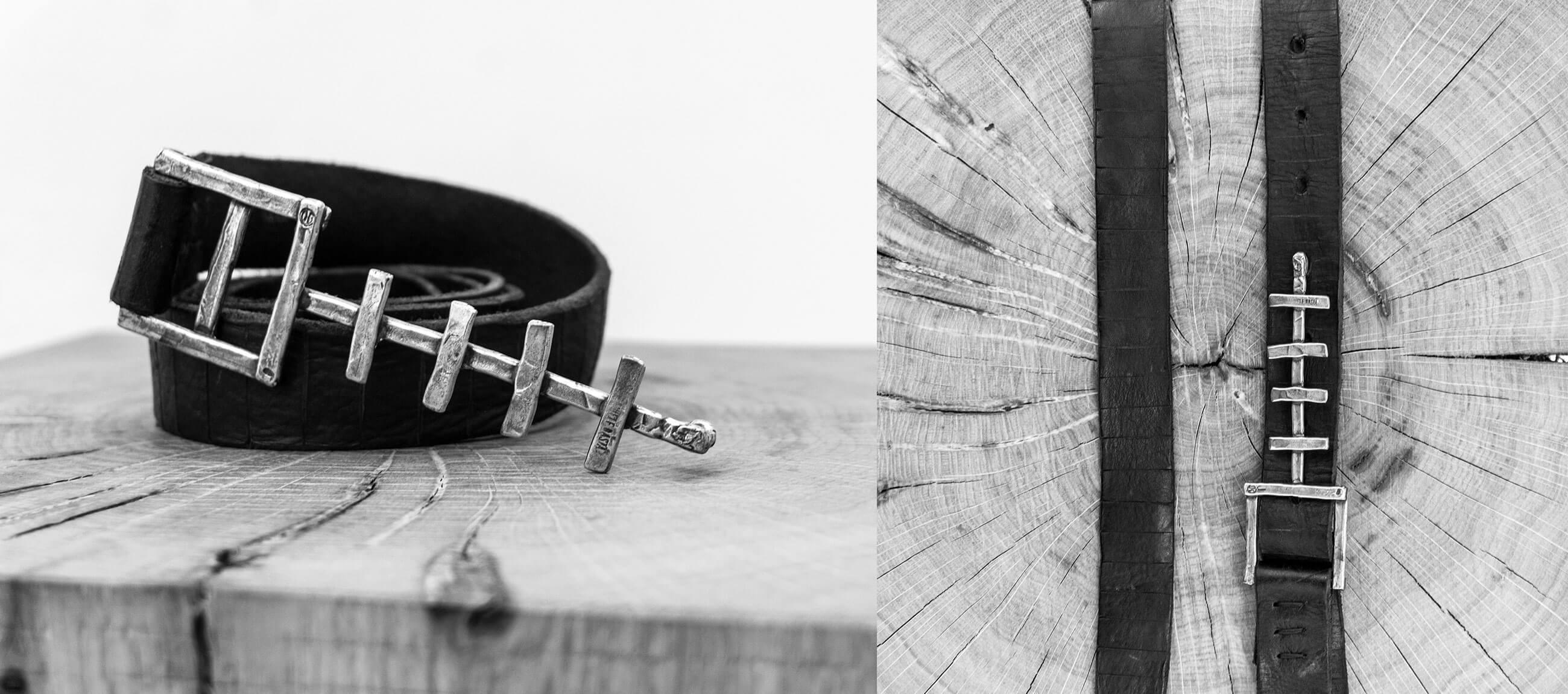 DANIELEBASTA Leather and Silver 925 BONE belt